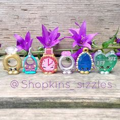 Shopkins Limited Edition Season 3 Collection- Roxy Ring - Ruby Earring - Ticky Tock - Ring a Rosie - Brenda Brooch - Chelsea Charm Shopkins Limited Edition, Shopkins Season 1, Shopkins World, Chelsea Charms, Shopkins And Shoppies, Moose Toys, Season 3, Disney, Birthday Parties