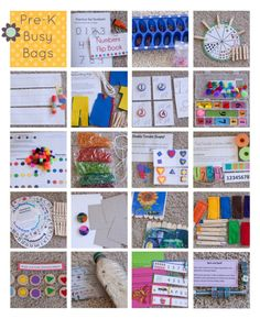 "Busy bag ideas for kindergarten free time or ""I'm done, now what?""--I'm thinking my graders can make these activities and present them to kindergarten teacher's as a service project. Craft Activities For Kids, Projects For Kids, Preschool Activities, Preschool Learning, Preschool Projects, Kids Crafts, Art Projects, Craft Ideas, Fun Learning"