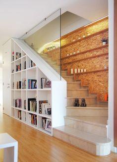 Modern Staircase – Home Decor İdeas Modern Home Library Design, Loft Design, Modern House Design, Home Interior Design, Design Case, Staircase Storage, House Staircase, Loft Stairs, Staircase Ideas