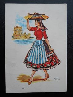 Stamps, covers and postcards of traditional/folk costumes: Postcards / Costumes - Portugal / Portugalija. Lisboa