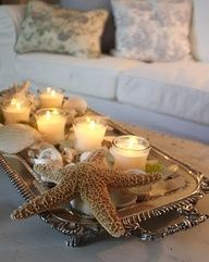 Silver tray with candles,shells,driftwood,etc.   inspiration