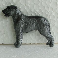 Irish Wolfhound Grey Brooch Dog Breed Jewellery Handpainted Handcrafted Resin