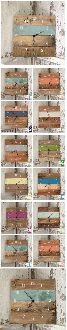 50 nuances d'horloges réalisées avec du bois de palettes de récupération.