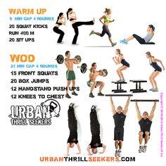 20 squat kicks, Run 400 m, 20 sit ups, 15 front squats, 20 box jumps, 12 handstand, 12 Knees to chest, squat kicks, Run 400 m, sit ups, front squats, box jumps, handstand, Knees to chest