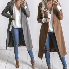 Winter Womens Long Wool Coat Lapel Parka Jacket Cardigan Overcoat Outwear