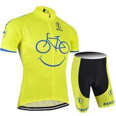 High Visibility Yellow Happy Bike Cycling Kit
