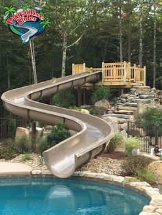 custom water slide model ps61l c in cafe paradise slides custom residential in ground - House Pools With Slides