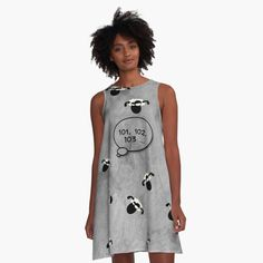 -  Loose swing shape for an easy, flowy fit.   -  Print covers entire front and back panel.   -  97% polyester, 3% elastane woven dress fabric with silky handfeel.   . . . #dress  #flowingdress  #flowydress  #alinedress  #bitsofeverywhere  #countingsheep  #sheep  #insomnia