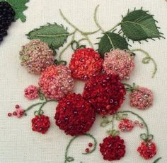 Paisley Designs: Update on some stitching - Natures Circle Stumpwork - Stumpwork raspberries stitched with french knots and beads on a separate cloth, then gathered and attached