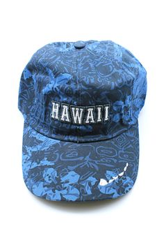 d51c1f4f82af Hawaii Map Embroidered Floral Hibiscus Adjustable Cap Hat in Blue Camouflage