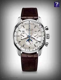 Zenith El Primero 410 is a chronograph with moonphase indication. Shop luxury swiss mechanical watches with Oster Jewelers. Gents Watches, Fine Watches, Watches For Men, Wrist Watches, Days Of The Week Display, Watch Master, Watch Companies, Stainless Steel Case, Crystals