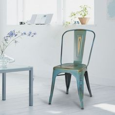 Dining Chairs| Distressed Green Stacking Dining Chairs - CH0280-4