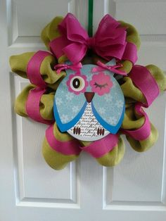 Burlap Owl Wreath | Burlap owl wreath | Mesh Wreaths