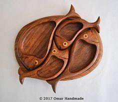 Omar_Handmade / Rybičková drevená tácka na oriešky
