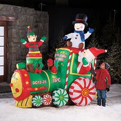 New 7 ft Animated Christmas Inflatable Santa Elf Train