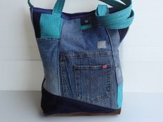 big eco bag blue jeans bag vegan denim crazy quilt by LIGONbyRuthi, $69.00