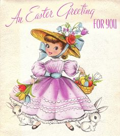 vintage easter card with girl & bunnies from poshtottydesignz on etsy