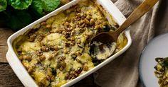 Recette de Gratin de pommes de terre léger aux noix, chèvre et herbes. Facile et rapide à réaliser, goûteuse et diététique.