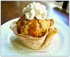 BAKED CINNAMON SUGAR TORTILLA BOWLS recipe! So easy to make! If you have flour tortillas, butter, cinnamon & Sugar, you can make these bowls! Fill with fresh fruit, ice cream, apple crisp...don't forget to eat the bowl!