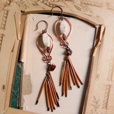 Autumn - Tribal porcupine quill earrings