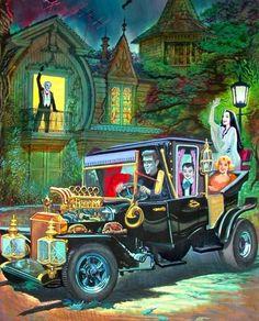 "Halloween Sh — Original artwork for ""The Munsters"" book and. Arte Horror, Horror Art, Theme Halloween, Vintage Halloween, Happy Halloween, Frankenstein, Comic Cat, Art Ancien, The Munsters"