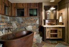 Rustic Bathroom with Limestone counters, Glass panel, High ceiling, Roterra slate tile - meshed back patterns multi color Rustic Bathroom Designs, Rustic Home Design, Rustic Bathrooms, Home Interior Design, Bathroom Ideas, Natural Stone Flooring, Ski Slopes, Cabin Interiors, Bathroom Styling