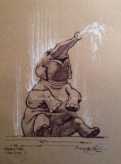 Bathing Elephant Lithograph by Artist Kevin-John Jobczynski