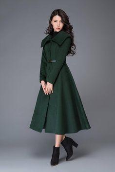 Green Wool Coat, Long Wool Coat, Green Winter Coat, Long Winter Coats, Winter Coats Women, Dress Coats For Women, Women's Dresses, Dress Outfits, Fashion Outfits