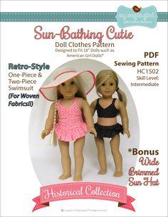 Pixie Faire My Angie Girl Sun Bathing Cutie Doll Clothes Pattern for 18 inch American Girl Dolls - PDF de PixieFairePatterns en Etsy https://www.etsy.com/mx/listing/230131030/pixie-faire-my-angie-girl-sun-bathing
