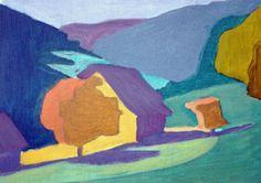 Een schilderij met tertaire kleuren omdat het geen zuivere kleuren zijn en een mengsel van primaire kleuren