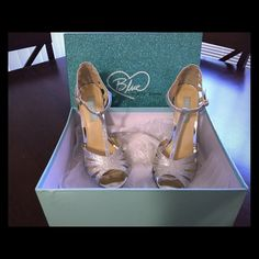 Betsey Johnson silver heels Cute heels only worn on my wedding day! Betsey Johnson Shoes Heels