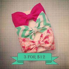 Chevron floral polkadot fabric hair bow coral peach by SplendidBee