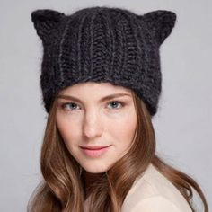 2013 New Arrival Winter Warm Hat Women's Devil Horn Knitted Hats Cat Ears Knitting Caps Female Hat Free Shipping 80032 $6.99