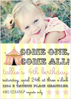 tallie's circus party invitation