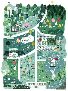 Travel Green Guide Illustrated Map by Irene Rinaldi Travel Illustration, Cute Illustration, Botanical Illustration, Vogue Kids, Map Projects, Art Carte, Maps For Kids, Map Design, City Maps