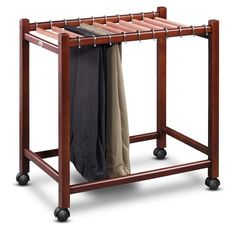 Elegant and functional, this pants trolley keeps pants neat and organized.