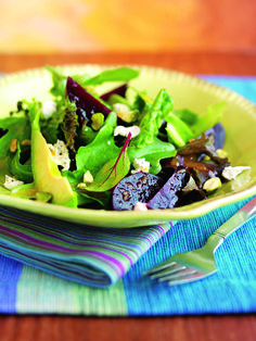 Mixed Greens with Roasted Beets and Avocado Tossed with Orange-Shallot Vinaigrette - Rebecca Katz, MS, Author, Educator & Culinary Translator