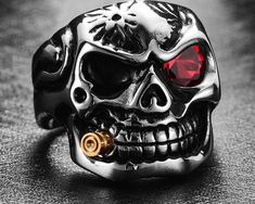A wearable masterpiece of occult art, highly detailed.An amazing skull ring for your biker jewelry collection.