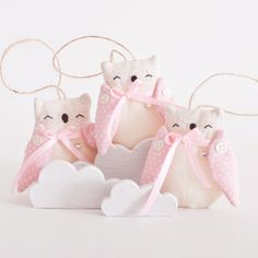 Holiday Ornaments Set of 3 Fir Tree Toys Owl Handmade by JuliaWine, $19.00