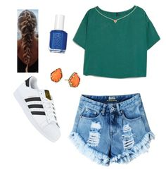 """""""School #3"""" by e-m-dog ❤ liked on Polyvore featuring adidas, MANGO, Essie and Kendra Scott"""