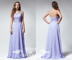 Pastel lilac keyhole single shoulder beaded by TulleandChantilly, $154.00
