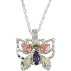"""Black Hills Gold Jewelry by Coleman Co. Peridot and Amethyst 10kt and 12kt Black Hills Gold and Sterling Silver Butterfly Pendant, 18"""""""