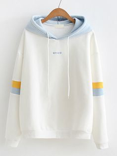 Shop Striped Sleeve Contrast Hooded Sweatshirt at ROMWE, discover more fashion styles online. Sweatshirts Online, Hooded Sweatshirts, Trendy Hoodies, Cute Casual Outfits, Sweat Shirt, Romwe, Hoods, Fashion Outfits, Jeans Fashion