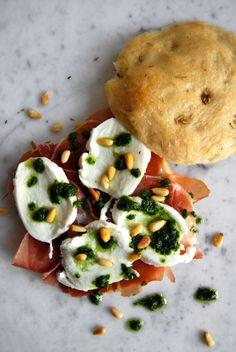 eat in my kitchen ° Serrano, Mozzarella di Bufala and Basil Pesto Focaccia