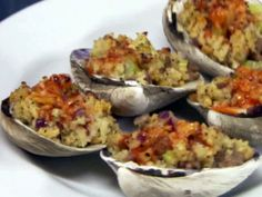 Sausage and Herb Stuffed Clams recipe from Robert Irvine via Food Network