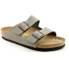 Birkenstock Arizona Mens Slide Sandals ($104) ❤ liked on Polyvore featuring shoes, sandals, grey, grey leather shoes, real leather shoes, leather shoes, leather sandals and traction shoes