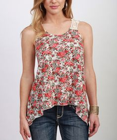 Floral tank with crocheted straps