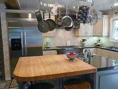 Island overhead hanging storage. Kitchen design & remodeling by Danilo Nesovic, Designer · Builder (dndb.info)