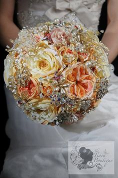 Stunning artificial flower, beaded, crystal, brooch, jewellery bouquet. $525.00, via Etsy.