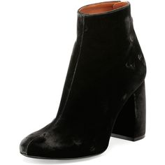 Stella McCartney Velvet Curved-Heel Ankle Bootie (710 CAD) ❤ liked on Polyvore featuring shoes, boots, ankle booties, black shoes, heels, charcoal, short boots, black booties, block heel booties and black ankle boots